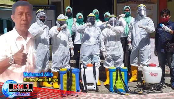 Adakan Penyemprotan Desinfektan, Kades Bonda Raya Minta Warga Patuhi Imbauan Pemerintah