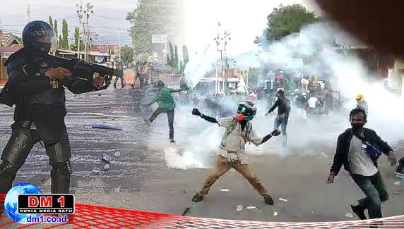 Demo Tolak Omnibus Law di Gorontalo Bentrok, 202 Pendemo Diamankan