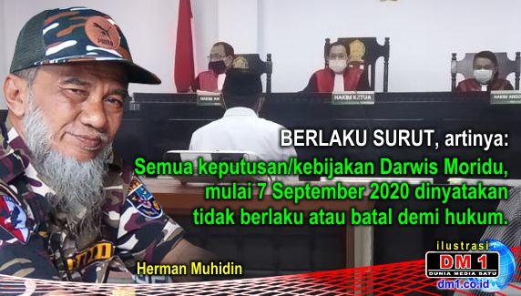 Semua Keputusan Darwis Moridu Sejak 7 September 2020 Dinilai Batal Demi Hukum