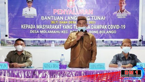 "Penyaluran BLT-DD Molamahu Tahap VIII ""Diwarnai"" Sosialisasi Pemekaran Kabupaten Bone Pesisir"